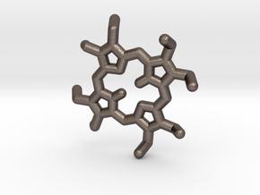 Octaethylporphyrin pendant in Polished Bronzed Silver Steel