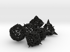 Thorn Dice Set in Black Premium Versatile Plastic