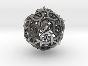 DoubleSize Thorn d20 in Natural Silver