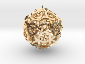DoubleSize Thorn d20 in 14k Gold Plated Brass