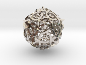 Thorn d20 Ornament in Rhodium Plated Brass