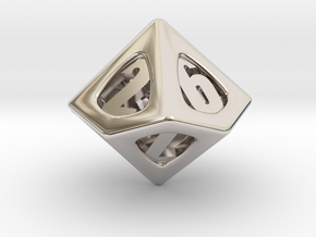 Thoroughly Modern d10 in Rhodium Plated Brass