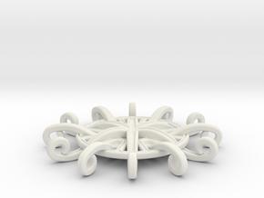 Tentacle Rosette Pendant in White Premium Versatile Plastic