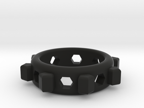 Geo Ring in Black Natural Versatile Plastic
