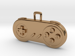 Retro Game Console Controller Pendant. in Polished Brass
