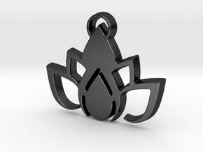 Lotus pendant in Polished and Bronzed Black Steel: Medium