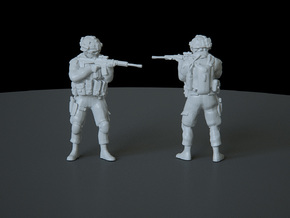 4 HO Modern Soldier (no base) in Smooth Fine Detail Plastic