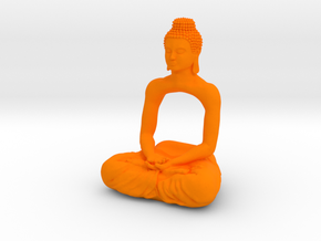 Meditating Buddha  in Orange Processed Versatile Plastic