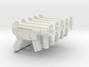 5x HK MP5K assault rifle for Playmobil figures in White Natural Versatile Plastic