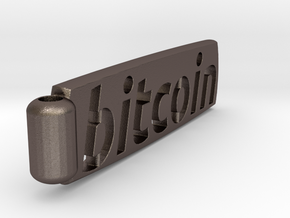 Bitcoin Keychain  in Polished Bronzed Silver Steel