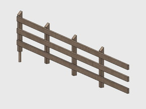 Wood Rail Fence - 4L (2 ea.) in White Natural Versatile Plastic: 1:87 - HO