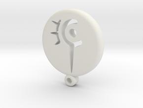 Fantasy Red Mage Icon Medallion in White Natural Versatile Plastic