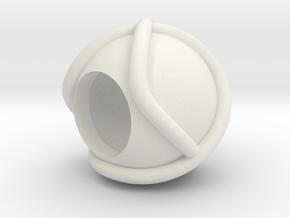 Trefoil Knot Keychain/Lanyard Bead in White Natural Versatile Plastic