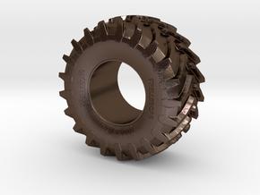 2cm Miniature Trelleborg Tractor Tire in Polished Bronze Steel