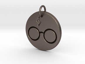 Harry Potter Keychain in Polished Bronzed Silver Steel