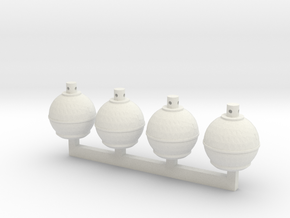 Smudge Pots (S) in White Natural Versatile Plastic: 1:64 - S