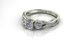 Fine 3 stone crossover with a hug, NO STONES SUPPL in Fine Detail Polished Silver