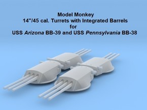 1/700 USS Arizona Turrets (integrated barrels) in Smoothest Fine Detail Plastic
