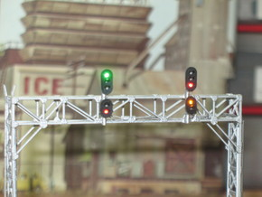 N Scale Signal Gantry 3 tracks 2pc in Smooth Fine Detail Plastic