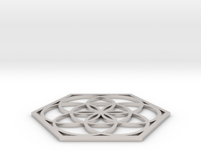 Flower of Life in a Hexagon in Platinum