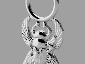 Scarab Pendant in Polished Silver