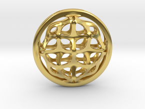 Ornamental porthole. Pendant in Polished Brass