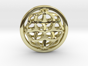 Ornamental porthole. Pendant in 18k Gold Plated Brass