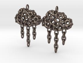 Rainy Earrings in Polished Bronzed Silver Steel