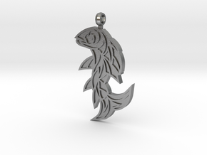 Shard Fish Pendant (inverted) in Natural Silver