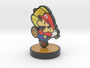 Paper Mario Amiibo  in Glossy Full Color Sandstone