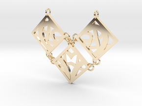 Geo Heart Tles in 14k Gold Plated Brass