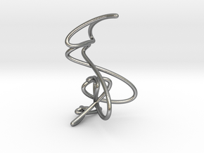 Wire knot pendant necklace in Natural Silver