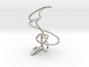 Wire knot pendant necklace in Rhodium Plated Brass