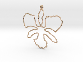 Wild Orchid Pendant in 14k Rose Gold Plated Brass