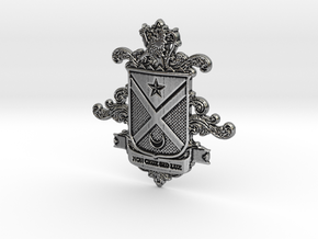Black Family Crest in Antique Silver