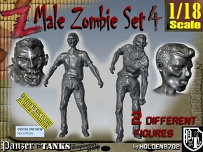 1-18 Male Zombie Set4 in White Natural Versatile Plastic