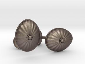 Shell Cufflinks in Polished Bronzed-Silver Steel