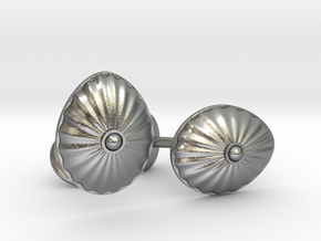 Shell Cufflinks in Natural Silver