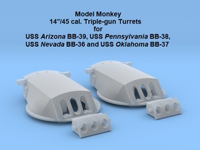 1/700 USS Arizona Turrets & Trunnions (no barrels) in Smoothest Fine Detail Plastic