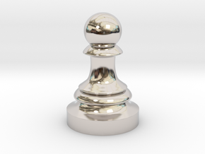 Pawn - F[1,0M/1,1C] Classic in Rhodium Plated Brass