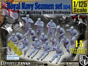1/125 Royal Navy Seamen Set 104 in Smooth Fine Detail Plastic