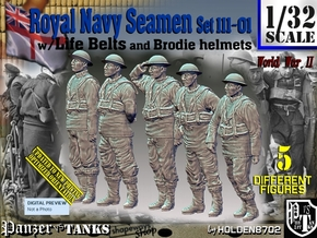 1/32 Royal Navy Seamen Set111-01 in White Natural Versatile Plastic