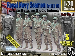 1/20 Royal Navy Seamen Set111-01 in White Natural Versatile Plastic
