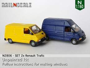 SET 2x Renault Trafic (N 1:160) in Smooth Fine Detail Plastic