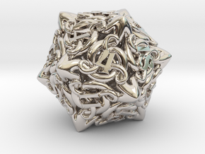 Cthulhu D20  in Rhodium Plated Brass