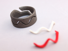 RING WAVE CUSTOMIZABLE Size 7 in Matte Black Steel