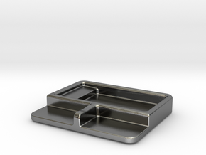 Soy sauce dish with chopstick rest in Polished Silver