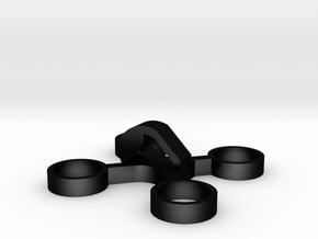 X-Quad solid key-charm Small in Matte Black Steel: Small