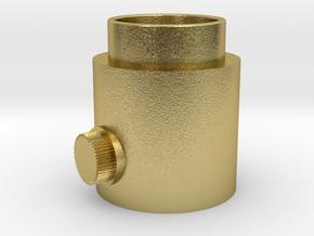 Button Knob in Natural Brass