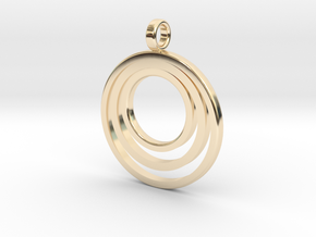 Circle Necklace_3 rings_1 inch v1 in 14k Gold Plated Brass: Medium